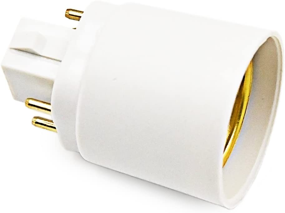 Bonlux 6-Pack Gx24q to E26//E27 Socket Adapter Rewire//Remove//Bypass The Ballast is Required Gx24 Short 4 Pin to Medium Edison Lamp Base Converter