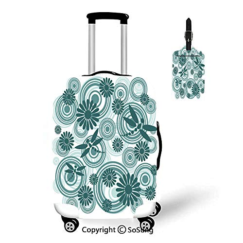 """Dragonfly 3D Printed Luggage Cover & Luggage Tag,Fit for 27-30"""" luggage,Petrol"""