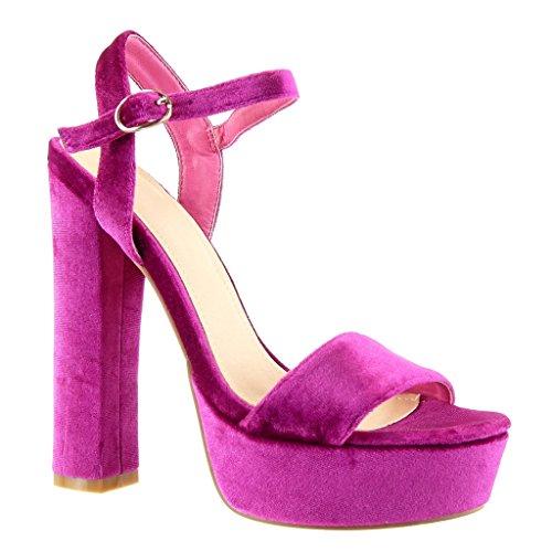 Angkorly - Chaussure Mode Sandale Escarpin plateforme femme lanière Talon haut bloc 15 CM - Fuschia