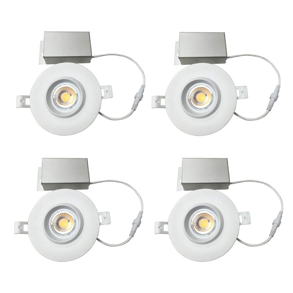 NICKLED (4 Pack) 4 inches led Gimbal Downlights-Directional Adjustable, 12W Dimmable LED Retrofit Recessed Lighting Fixture with IC Rated Junction Box, 1100lm(100W Replacement) 3000K-Warm White, 120V
