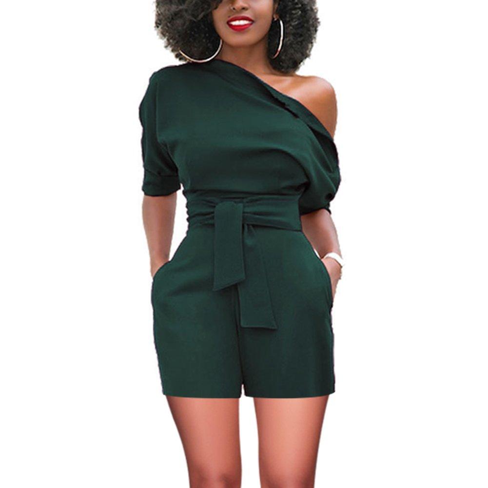 Women's Elegant One Shoulder Wide Leg Boot Cut Jumpsuit with Belt Dark Green Medium