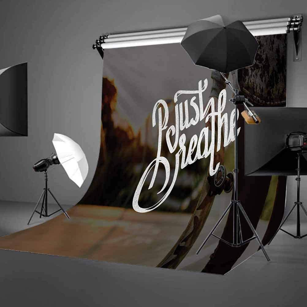 Just Breathe 10x12 FT Photo Backdrops,Peaceful Mind and Enjoyment Theme Words on Backdrop with Skateboarder Teenager Background for Baby Birthday Party Wedding Vinyl Studio Props Photography Multicol