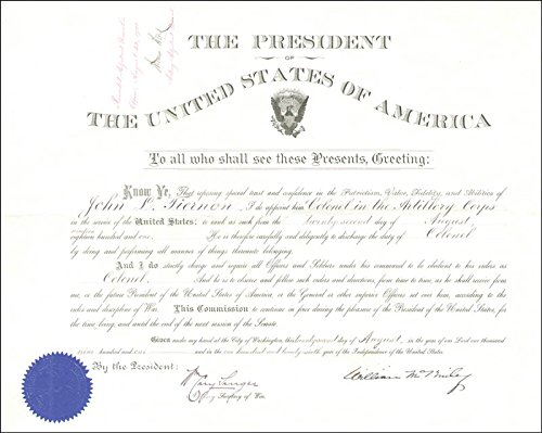 - President William Mckinley - Military Appointment Signed 08/22/1901 with co-signers