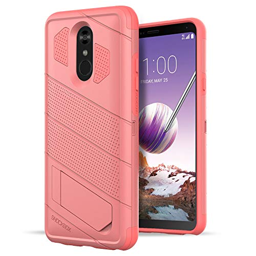Shockbox Commander Series - Shock Resistant Technology Dual Layer Kickstand 10ft Drop Tested Case for LG Stylo 4 - Retail Packaging (Pink) ()