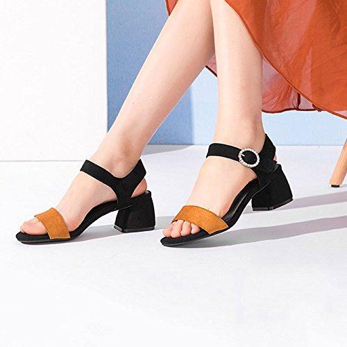 del Rhinestone estilo de abierto decorativas Marrón los Sandalias altos HY de las del verano Nuevo del talones señoras tqUPPB
