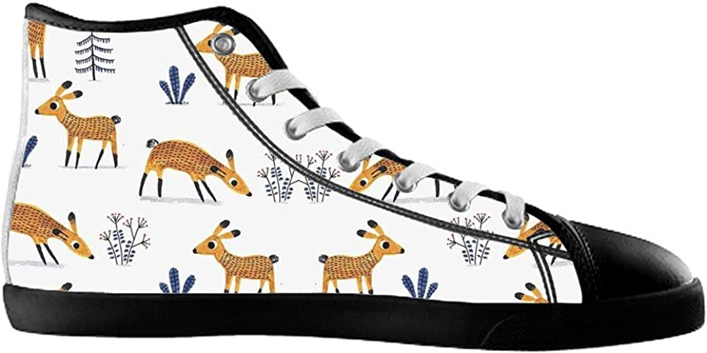 BrowneOLp Canvas Mens Shoes Shoes with Deer High Top Canvas Mens Shoes