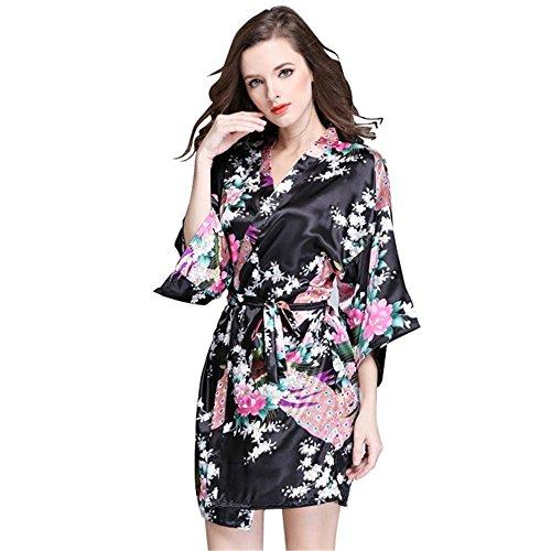 Mother's Angel Black Cardigan Kimono For Women Bathrobe With Peacock Short Style, Black, Medium