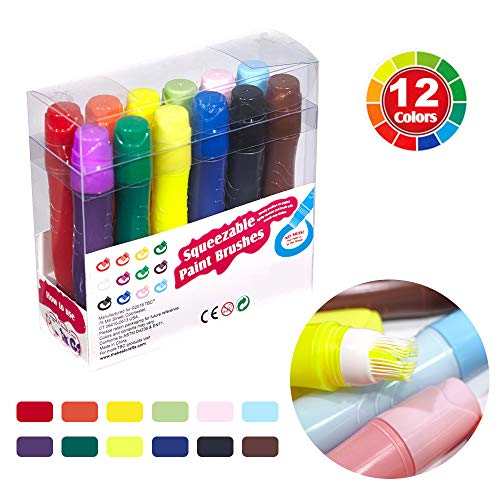 imoli Washable Tempera Paint Brushes, Squeezable Paints Sticks Markers -Non-Toxic, Quick Drying, No Mess Painting - Assorted Color Art Supplies Set for Kids Children Artist and Families (12 PCS)
