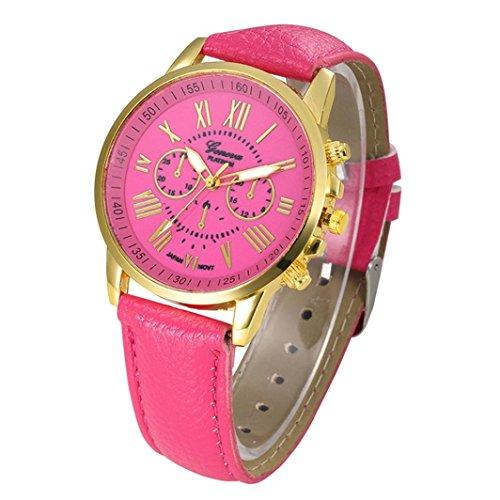 Pocciol Watch, Women Love Roman Numerals Leather Faux Leather Analog Quartz Wrist Watch Clock (Hot Pink) by Pocciol (Image #1)