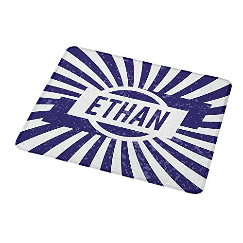 Mouse Pad Custom Design Ethan,Grunge Letters in Navy Blue in a Circle with Wavy Stripes Boys Birthday,Navy Blue and White,Non-Slip Rubber Comfortable Customized Computer Mouse Pad 9.8