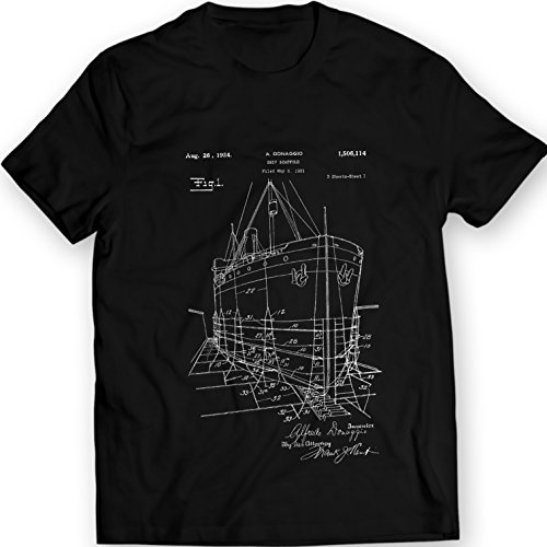 1906 Ships (1906 Ship Model Scaffold Patent T-Shirt Mens Gift Idea 100% Cotton (M,)