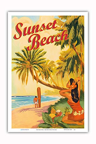 Pacifica Island Art - Sunset Beach Hawaii - Oahu North Shore - Surfer - Vintage Hawaiian Travel Poster Rick Sharp - Master Art Print - 12in x 18in (Hawaii Poster Travel)