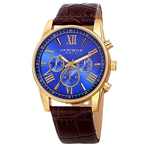 Akribos XXIV Men's Swiss Quartz Multi-Function Gold-Tone Case with Blue Sunray Dial and Brown Alligator Embossed Genuine Leather Strap Watch (Gold Tone Blue Dial)