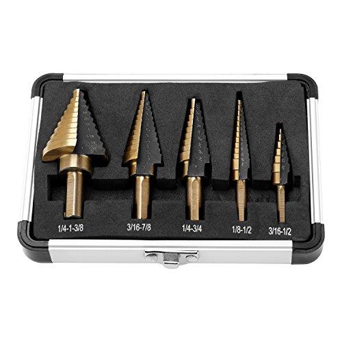 YOHOOLYO 5Pcs HSS Cobalt 50 Sizes Multiple Hole Step Drill Bit Tool Set with Aluminum Case
