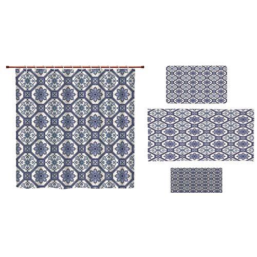 """iPrint - Juego de 4 piezas de cortina de ducha para baño con estampado 3D, diseño de patchwork pastel con adornos de filigrana, personalidad de moda personalizable añade color a tu cuarto de baño., Color7, 48""""x72""""by15.7""""x23.6""""by27.5""""x55.1""""by11.8""""x27.5"""""""
