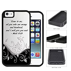 Pretty Black and White Floral Design with Matt 11:28 Bible Verse 2-Piece High Impact Dual Layer Black Silicone Cell Phone Case iPhone i5 5s by Maris's Diary
