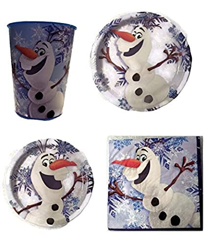 Disney Frozen Olaf Party Supplies for 8 Guests This Party Pack Includes Lunch Plates, Dessert Plates & Lunch Napkins (Serves 8 Guest) Plus Bonus Souvenir Cup For Birthday (Frozen Theme Food)