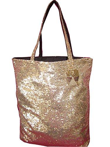 Victoria Secrets Bag Costume (Victoria's Secret HEAVENLY Wings Charm Gold Sequin Tote Bag)