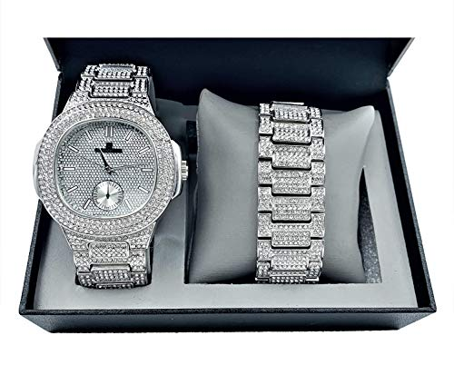 (Bling-ed Out Oblong Case Metal Mens Watch w/Matching Bracelet Gift Set - 8475B - Silver)