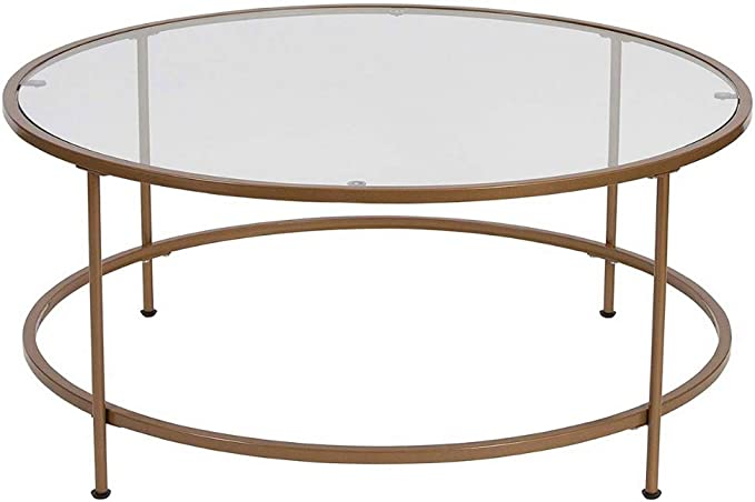 Amazon Com Gold Coffee Table Round Glass Modern Two Tier Table Dispaly Brass Metal Legs Cocktail Table Tea Table Accent Table Storage Mesh Shelf Contemporary Family Room Living Room Furniture Ebookbybada Shop