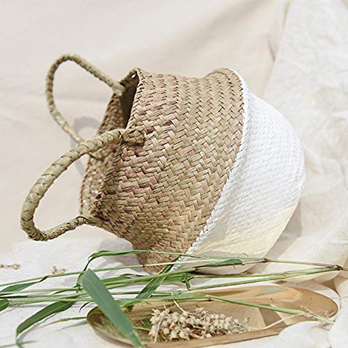 Wall Flower Basket, Elevin(TM) Seagrass Wicker Basket Wicker Basket Flower Pot Folding Basket Dirty Basket Storage Home Decoration (White)