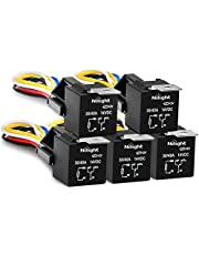 Nilight Automotive Relay Harness Set 5-Pin 30/40A 12V SPDT with Interlocking Relay Socket and Wiring Harness - 5 Pack,2 Years Warranty