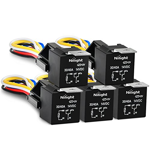 Nilight 50003R Automotive Set 5-Pin 30/40A 12V SPDT with Interlocking Relay Socket and Wiring Harness-5 Pack,2 Years