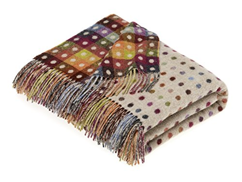 wool Multi Spot Beige Throw Blanket ()