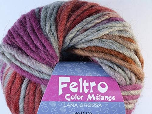 Lana Grossa Feltro Color Melange 1004 Hellgrau//Rostrot//Pink//Rot 50g