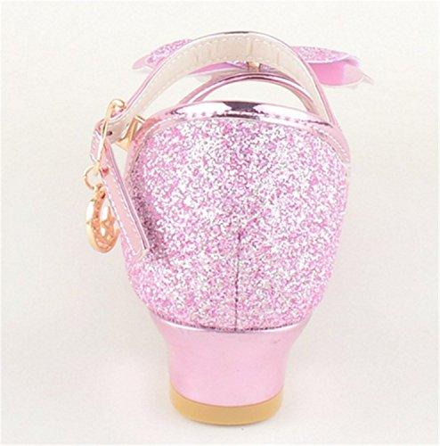 YOGLY Niñas Sandalias de Tacón Alto Princesa de Verano Zapatos Diamantes de Imitación Zapatos de las Niñas EU26-37 Rosa