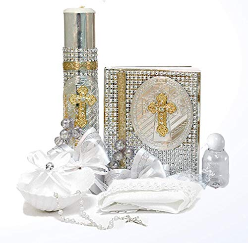 English Handmade Christening/Baptism Baby Set for Girl or Boy : Plated Silver Gold Candle, Bible, Dry Cloth, Sea Shell, Rosary and Holy Water Bottle -Bautizo Religious Gift