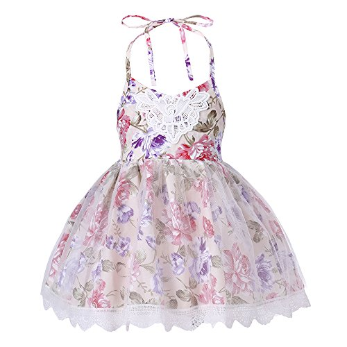 Halter Backless Dress for Girls - Floral Strap Sundress with White Tulle Lace, 6M-8T Floral Lace Sundress