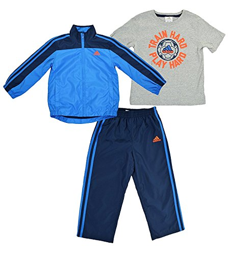 Adidas 3-Piece Boys 2T Athletic Train Hard Play Hard Soccer Windsuit Blue