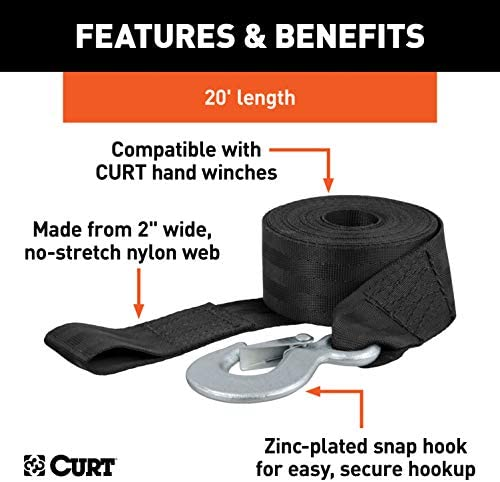 CURT 29007 2-Inch x 20-Foot Nylon Winch Strap with Hook 4,000 lbs.