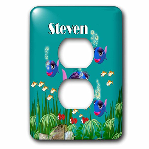 3dRose lsp_51243_6 This Vibrant Artwork of Fish Under The Sea is Personalized with The Name Steven Light Switch Cover