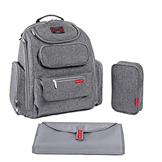 Bag Nation Diaper Bag Backpack | Large Capacity Unisex Baby Bag with Stroller Straps, Changing Pad and Sundry Bag - Holds All Your Baby's Essentials - Grey