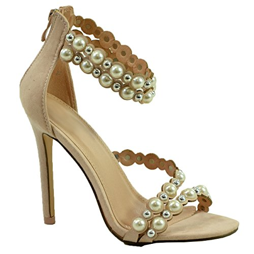 Perline Sandali Womens Beige Con Stiletto Borchie Perle Toe Peep New Taglia Alto Fashion Tacco Cucu 6wYEPcq