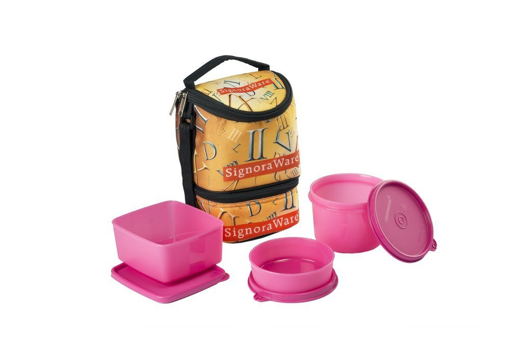 Signoraware Roman Trio Lunch Box with Bag Set, 3-Pieces, Pink