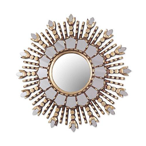 NOVICA Cedar Wood and Bronze Leaf Wall Mounted Starburst Mirror, Cuzco - Mirror Golden Sun