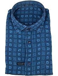Zegna Sport Blue Linen Button Down Casual Shirt Size Small