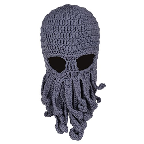 Vbiger Beard Hat Beanie Hat Knit Hat Winter Warm Octopus Hat Windproof Funny for Men & Women, Grey, One Size