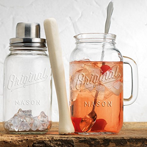 (Mason Jar 4-Piece Set Cocktail Shaker Set, - Wood Muddler - 33 Once Glass Pitcher - Stainless Spoon. Bar Tool Set by HC)