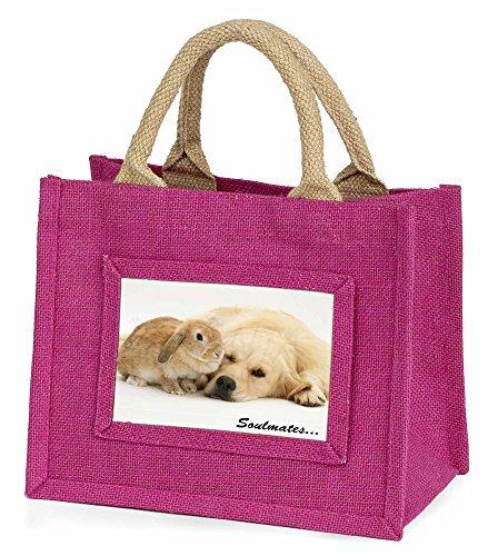 Advanta–Mini Pink Jute Tasche Goldie und Hase Soulmates Little Mädchen klein Einkaufstasche Weihnachten Geschenk, Jute, pink, 25,5x 21x 2cm