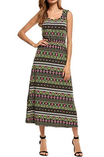 Beyove Women Summer Boho Floral Print Sleeveless Maxi Dress Sundress Green (Lightweight Cotton Dress)