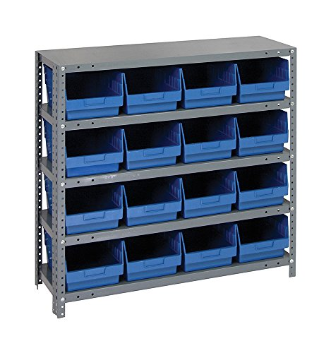Quantum Storage System 6' Store More Shelf Bin Unit - 16 QSB207 Complete Package 12' x 36' x 39' - Blue