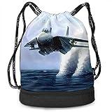 Mr.Roadman Multifunctional Bundle Backpack - War Planes in Action 3D Print Drawstring Backpack - Portable Shoulder Bags Travel Sport Gym Bag - Yoga Runner Daypack Shoe Bags