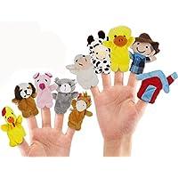RIY Animals Story Time Finger Puppets Set -- Cartoon Animal Soft Velvet Dolls Props Toys