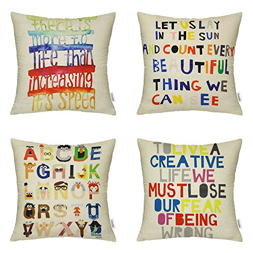 4 Packs Hippih Throw Pillow Cases - Cotton Linen Sofa & Bed Home Decor Design 18 X 18 Inch Cushion Covers , Polychrome Letters (4 Square Letter)