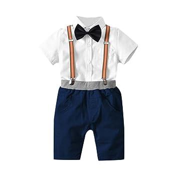 9fb048268d146 Aliciga ベビー 新生児 半袖 フォーマル スーツ 男の子 ワイシャツ + 無地 サロペット + 蝶ネクタイ 4点