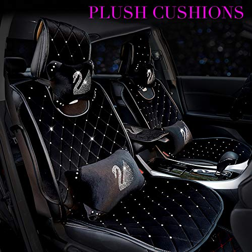 ZJWZ 9pcs Car Full Set Seat Cover suede velvet material 5 Seats W Neck Lumbar Pillows all seasons universal car, SUV vehicle: Kitchen & Home